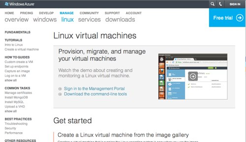 Linux virtual machines in Windows Azure