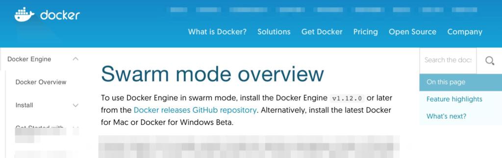 Docker swarm page
